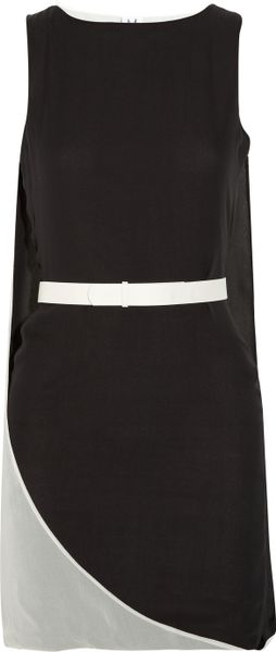 Halston Heritage Cape-back Silk-chiffon Dress in Black