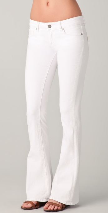 Paige Lou Lou Petite Skinny Flare Jeans in White | Lyst
