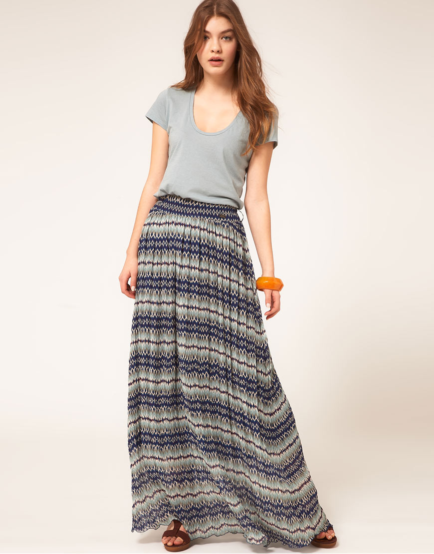 Pepe jeans Pepe Jeans Patterned Maxi Skirt in Blue | Lyst