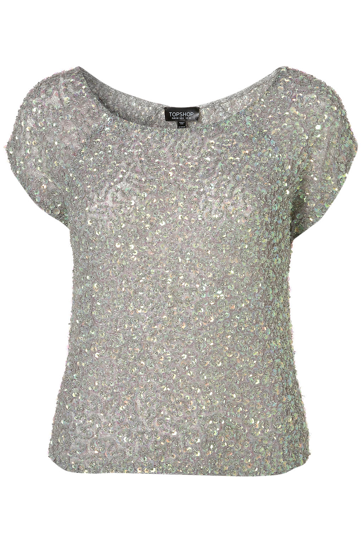 topshop mermaid sequin t shirt in metallic lyst. Black Bedroom Furniture Sets. Home Design Ideas