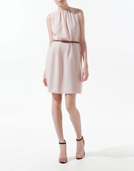 zara dress with belt in pink lyst