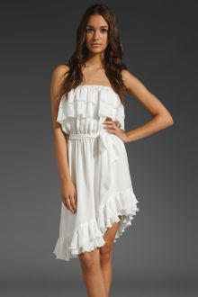 Haute Hippie Strapless Ruffle Dress with Self Belt - Lyst