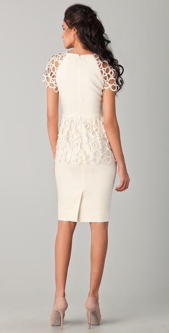 Lela Rose Short Sleeve Peplum Dress In Ivory White Lyst