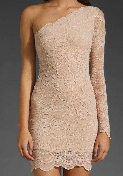 Nightcap Victorian Lace One Sleeve Dress In Beige Nude