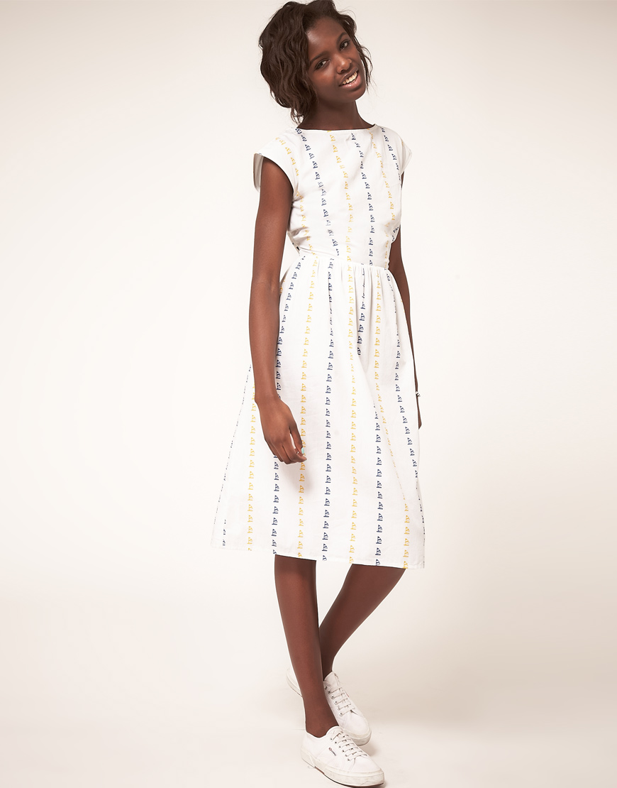 Asos Summer Midi Dress In Boat Print in White - Lyst