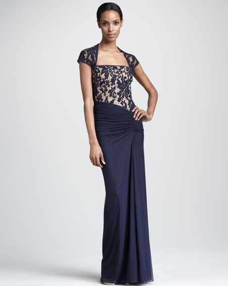 Tadashi Shoji Square-neck Lace Gown in Blue (navy nude)