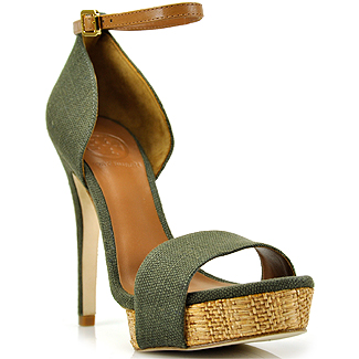 Lyst Tory Burch Amina Olive Canvas High Heel Sandal In