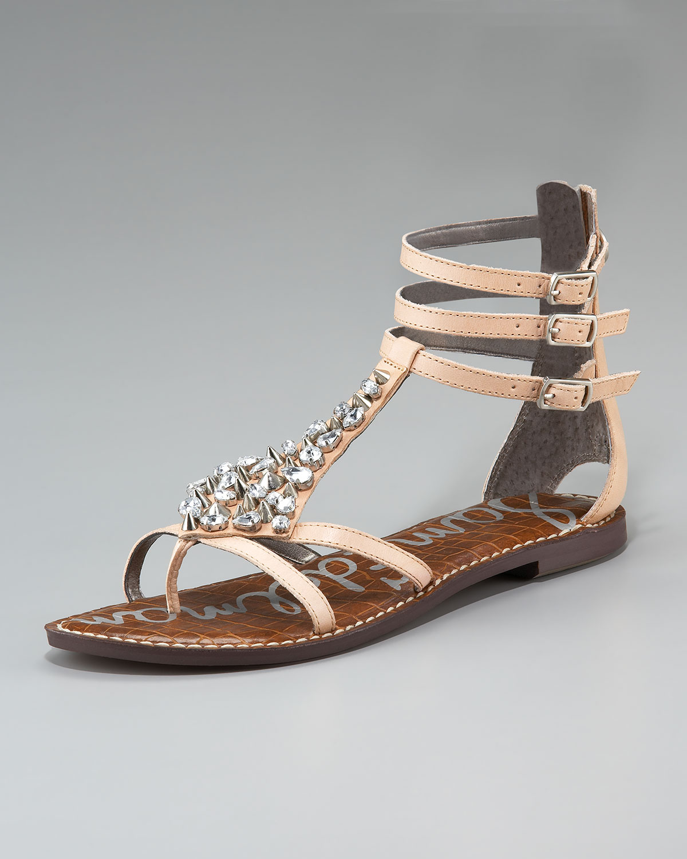 a27c0e25837a Lyst - Sam Edelman Georgina Rhinestone Ankle-strap Sandal in Natural