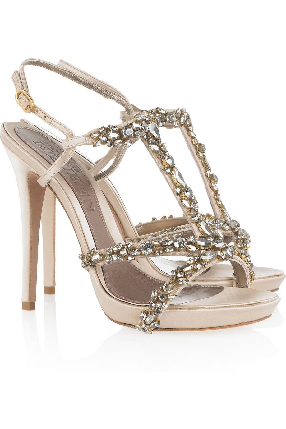 Alexander McQueen Crystal-embellished satin sandals PV2qsPu