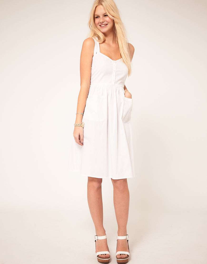 Asos Midi Summer Dress With Pockets In White Lyst