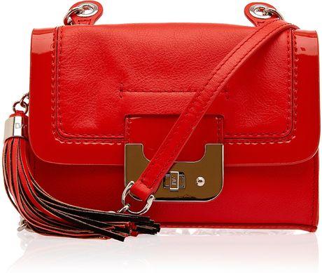 Diane Von Furstenberg Mini Harper Leather Combo Bag in Red
