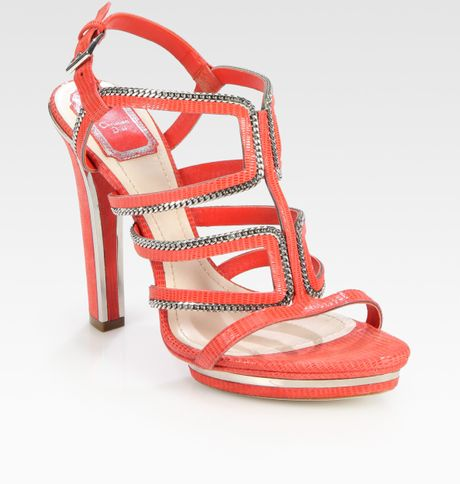 e2bc8810ccd Dior Chain-embellished Tejus-print Suede Platform Sandals in Red (melon)