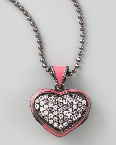 M.c.l By Matthew Campbell Laurenza Pave Heart Pendant Necklace in Pink - Lyst