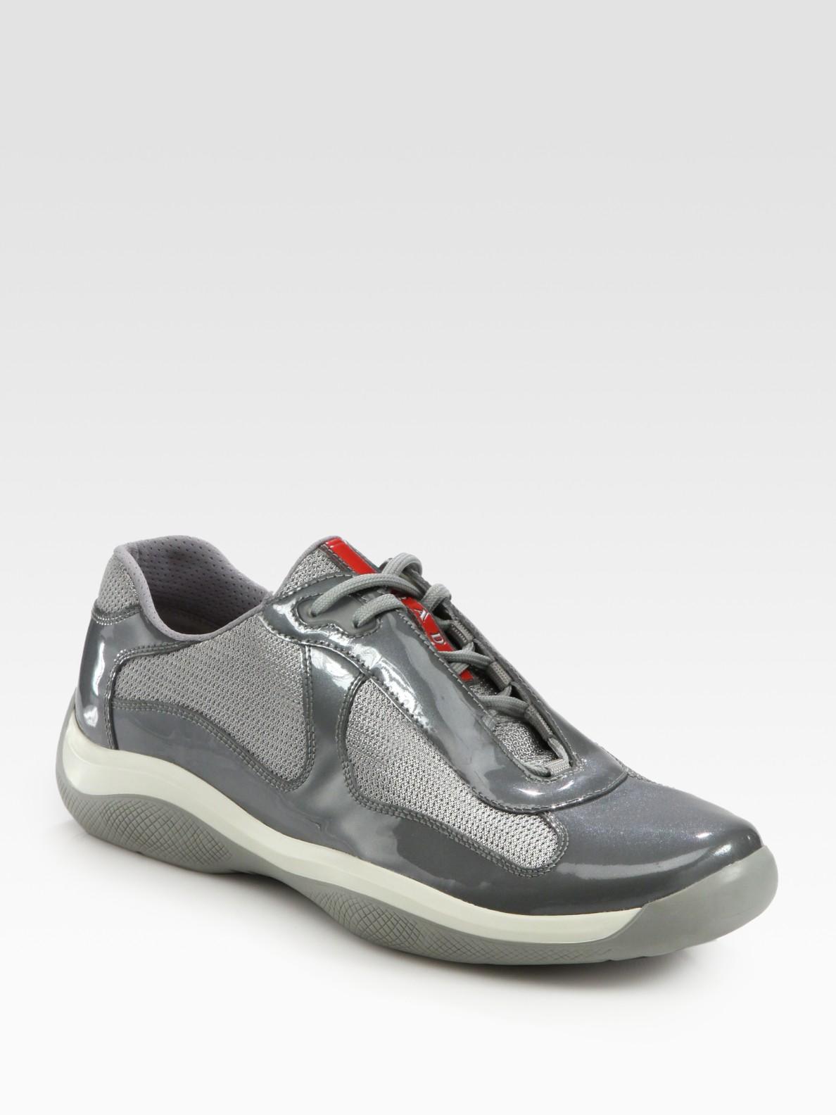 Prada Americas Cup Leather Sneakers in