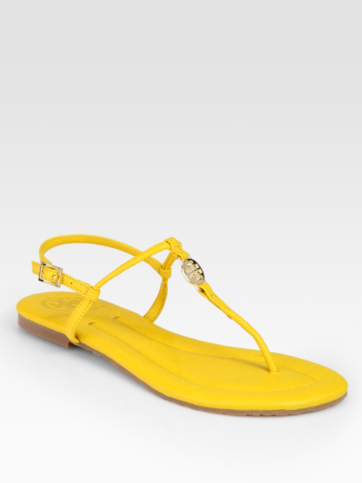 Lyst Tory Burch Emmy Leather Thong Logo Sandals In Yellow