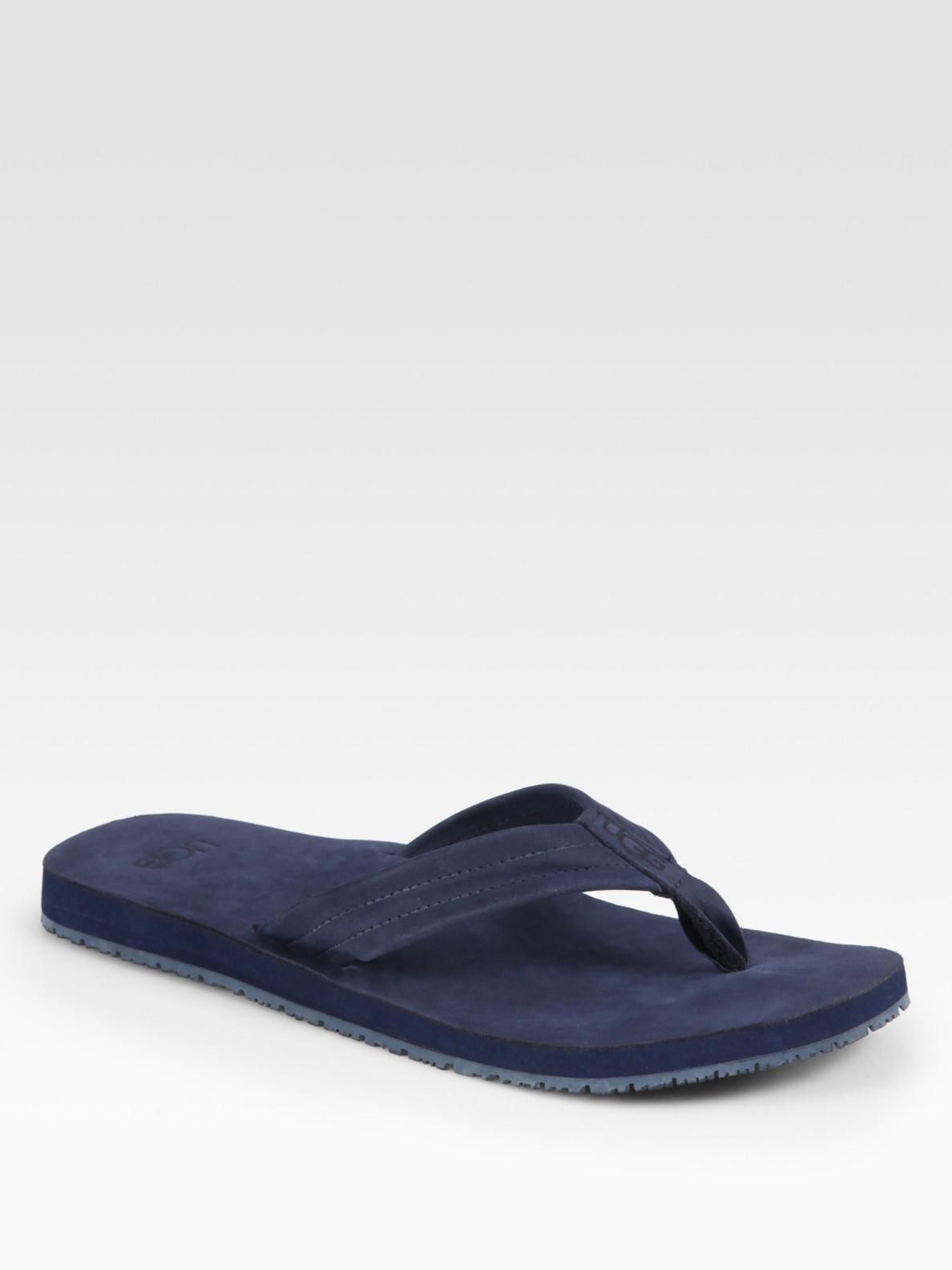 ugg suede flip flops in blue for men navy lyst. Black Bedroom Furniture Sets. Home Design Ideas