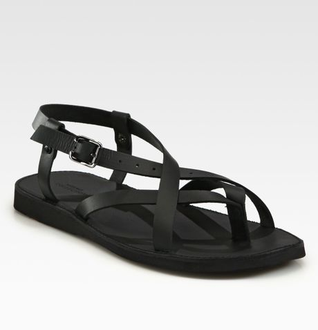 Versace Leather Sandals in Black for Men