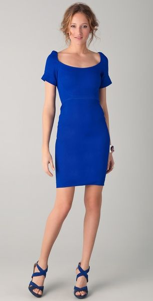 Zac Posen Short Sleeve Dress with Square Neckline in Blue (cobalt) - Lyst