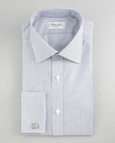Charvet striped french cuff dress shirt in gray for men for Mens dress shirts with cufflink holes