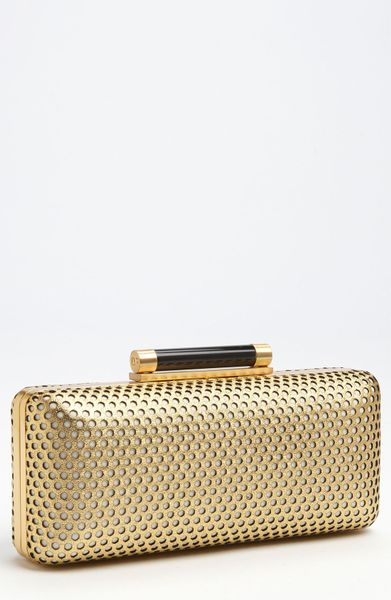 Diane Von Furstenberg Tonda Perforated Metallic Leather Clutch in Gold - Lyst