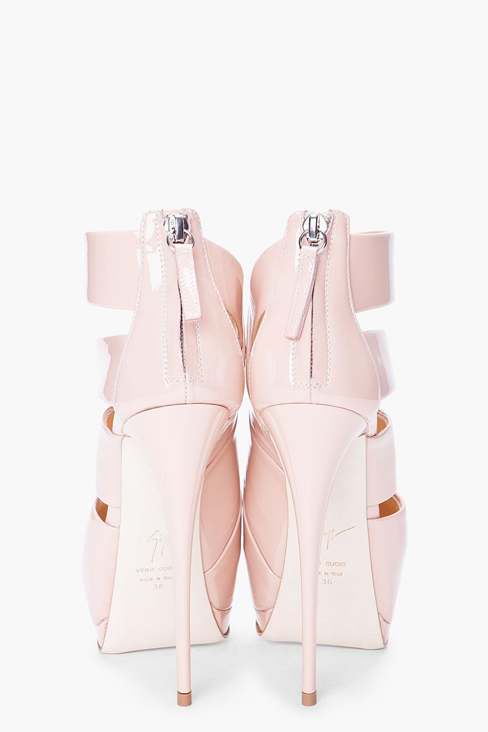 Giuseppe Zanotti Leather Alien Double Strap Nude High