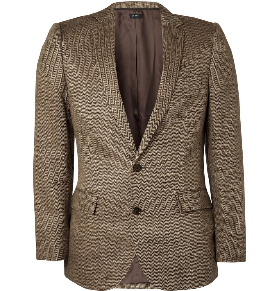 J.crew Ludlow Herringbone Linen Blazer In Brown For Men