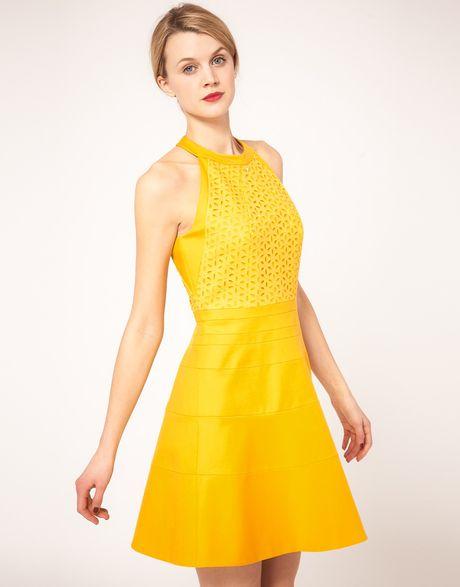 Karen Millen Fit Flare Halter Dress In Yellow Lyst