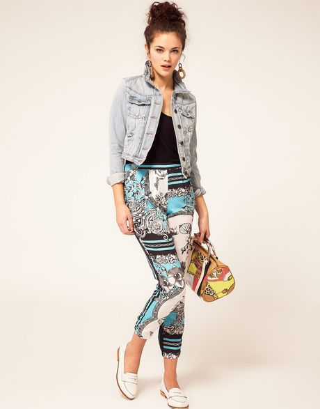 River Island Scarf Printed Trouser in Blue (blueblack)