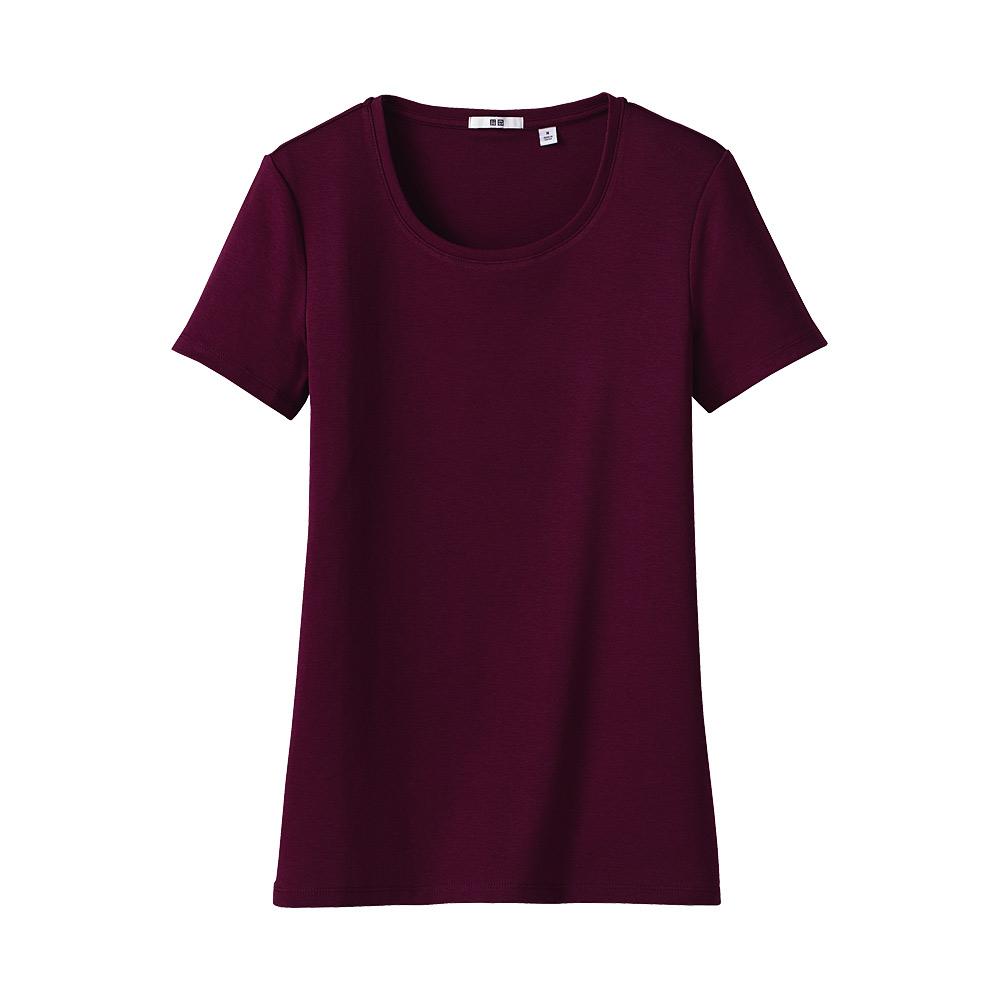 uniqlo premium cotton crew neck short sleeve t shirt in