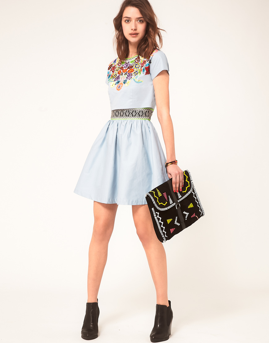 Asos Collection Asos Peplum Top In Sequin In Natural: Asos Collection Asos Dress With Embroidered T-shirt