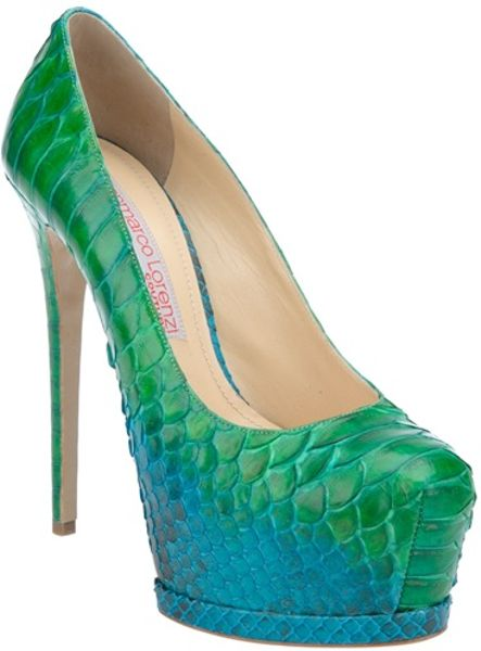 Gianmarco Lorenzi Python Skin Pump in Blue (green) - Lyst