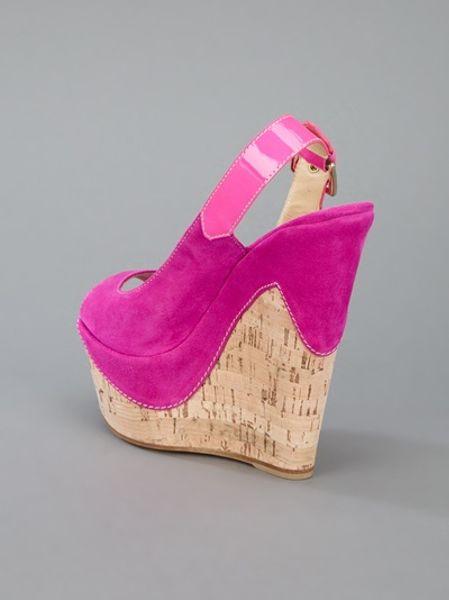 Gianmarco Lorenzi Wedge Sandal In Pink Lyst