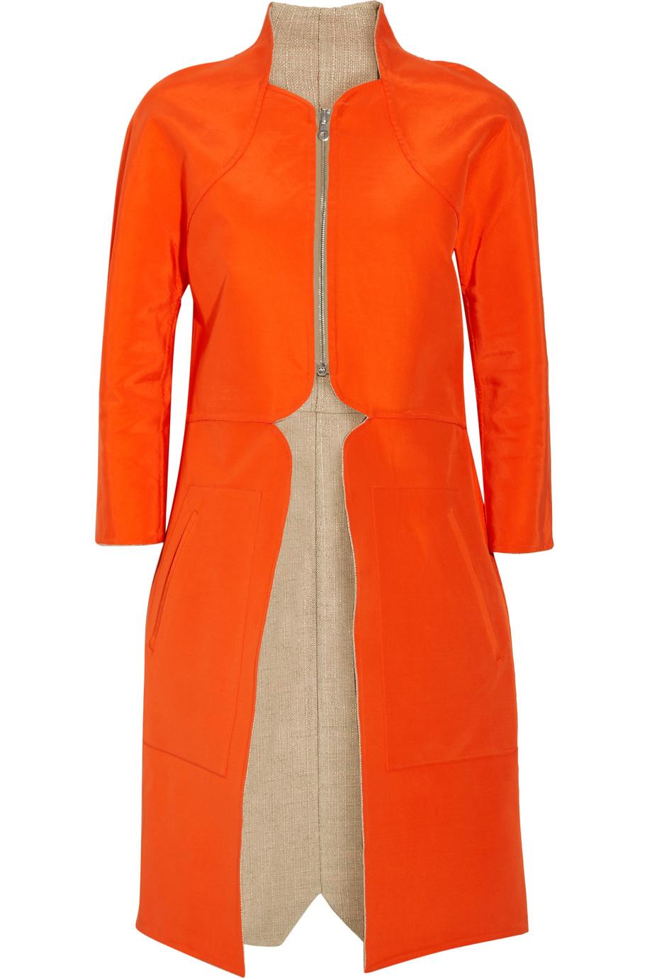 Lela Rose Reversible Silk And Linen Coat In Orange Lyst
