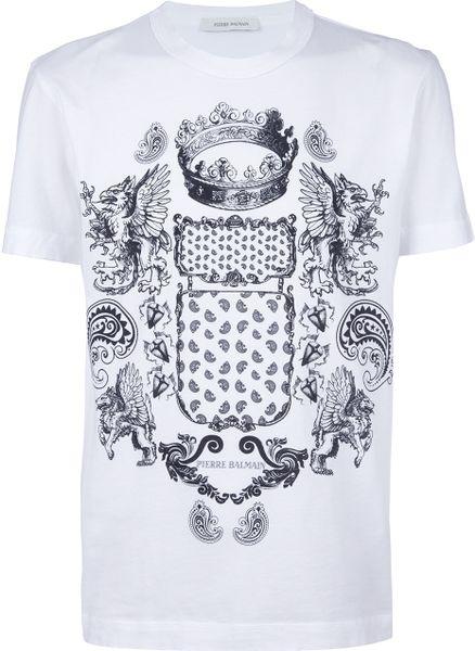 balmain printed t shirt in white for men lyst. Black Bedroom Furniture Sets. Home Design Ideas