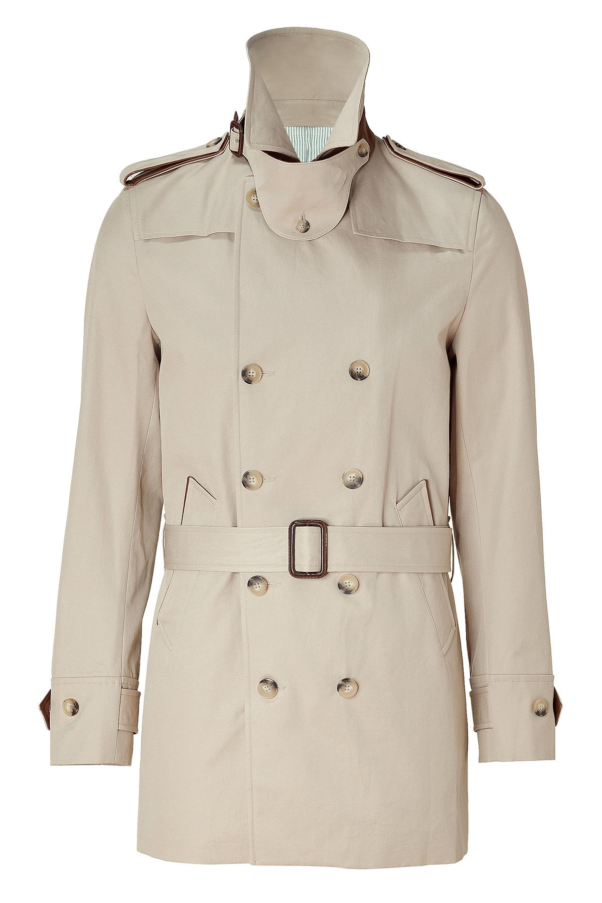 Sandro Sandstone Short Trench Coat in Natural for Men | Lyst