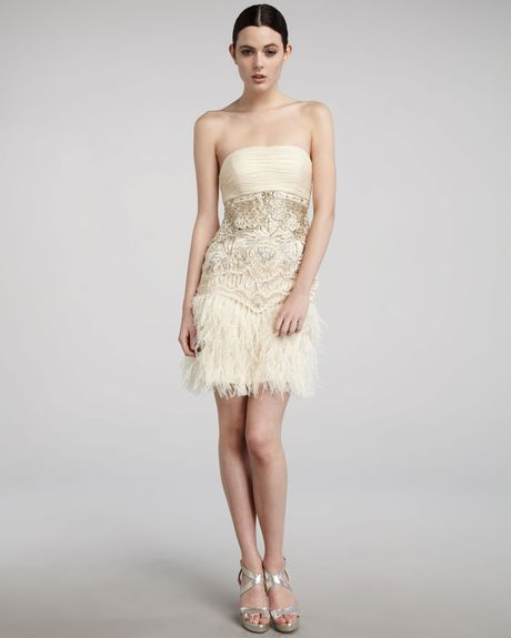 Sue Wong Strapless Feather-detail Dress In Gold (antique