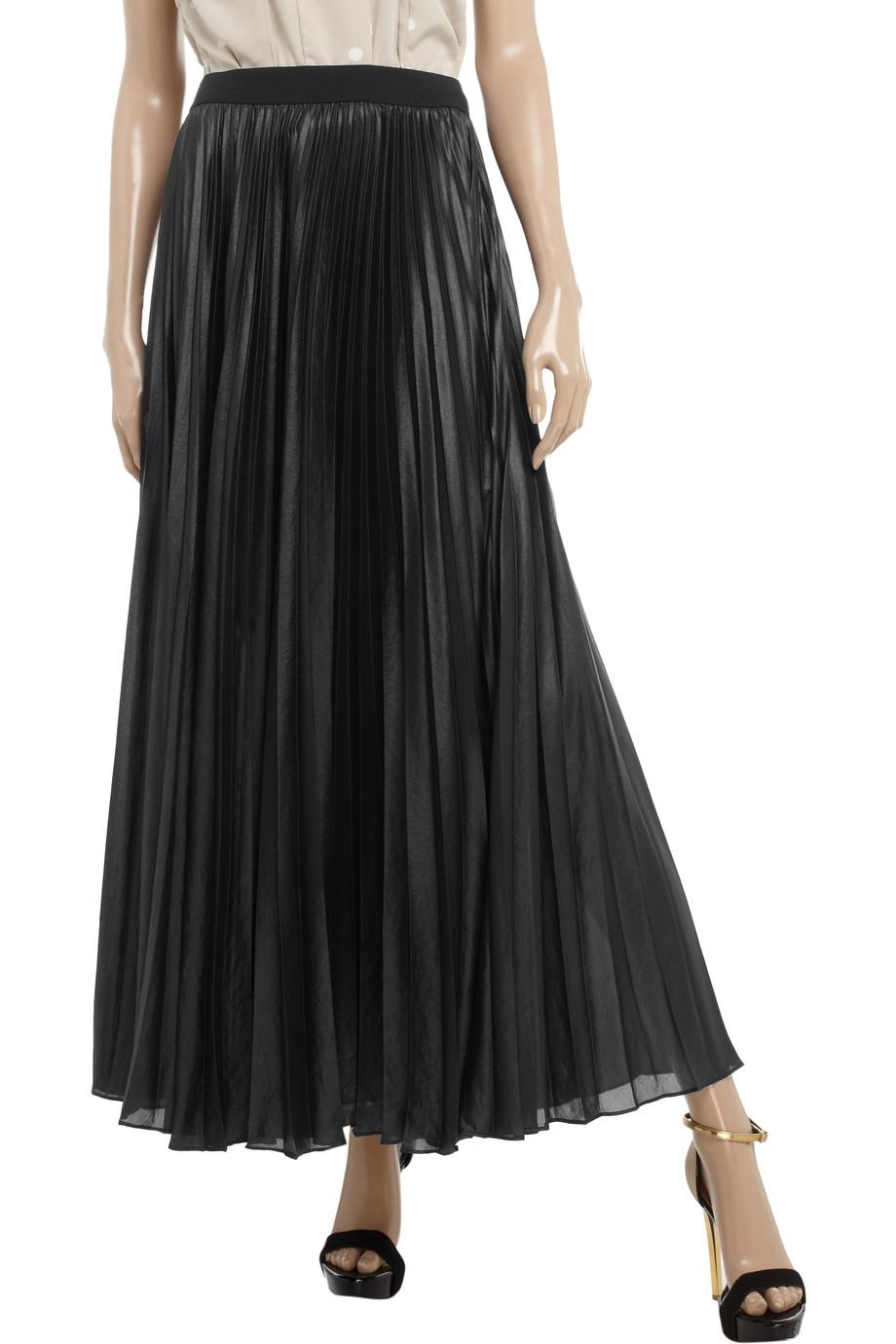 19f458ba082c BCBGMAXAZRIA Pleated Chiffon Maxi Skirt in Black - Lyst