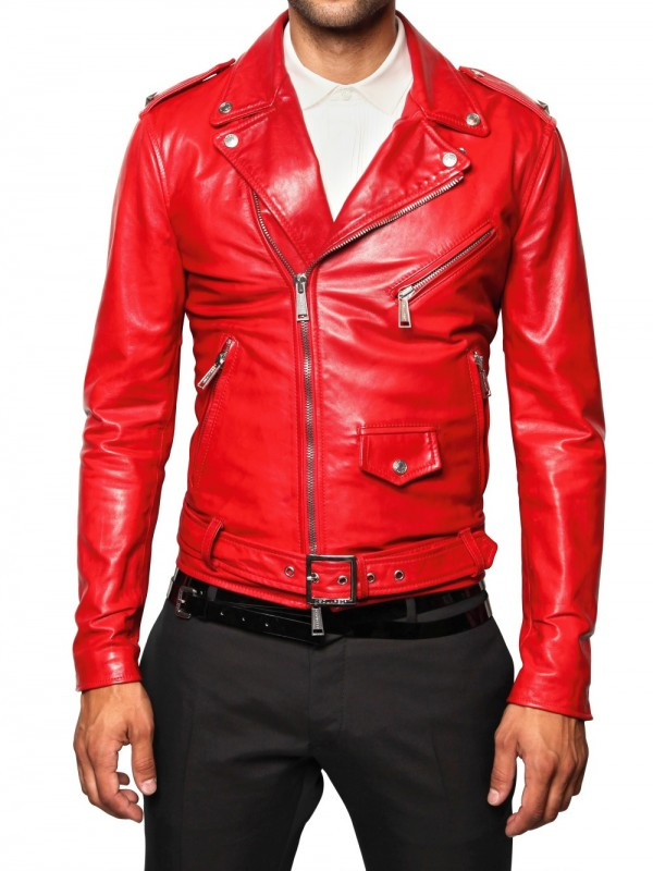 Dsquared² Biker Leather Jacket in Red for Men | Lyst
