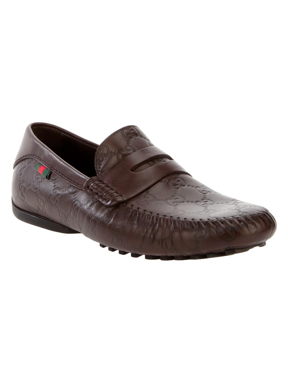 Gucci Monogram Loafer in Brown for Men | Lyst