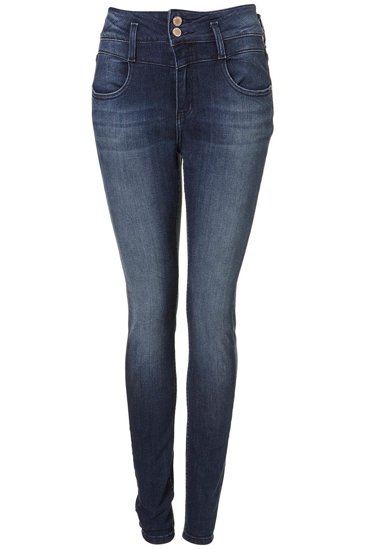 moto vintage high waisted kristen jeans in blue mid stone lyst. Black Bedroom Furniture Sets. Home Design Ideas