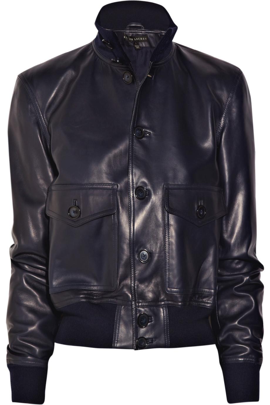 ralph lauren black label winslow leather bomber jacket in. Black Bedroom Furniture Sets. Home Design Ideas
