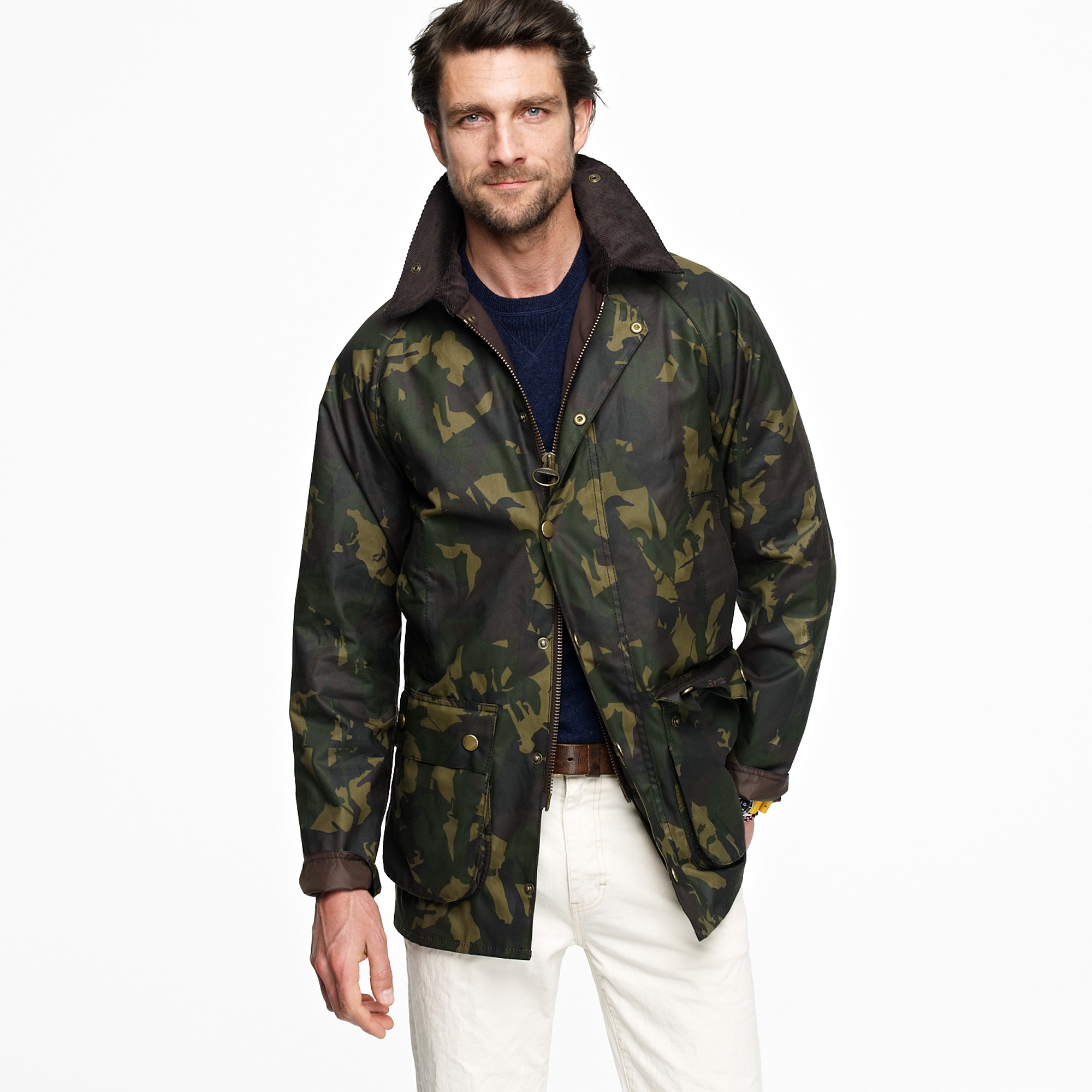 J Crew Barbour Bourne Camo Jacket In Olive Green For Men