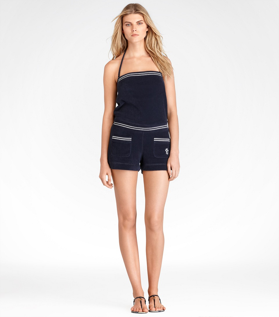 Tory burch terry romper in blue navy lyst for Tory burch fashion island