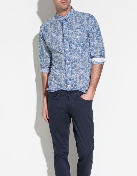 Zara printed shirt in blue for men lyst for Zara mens shirts sale