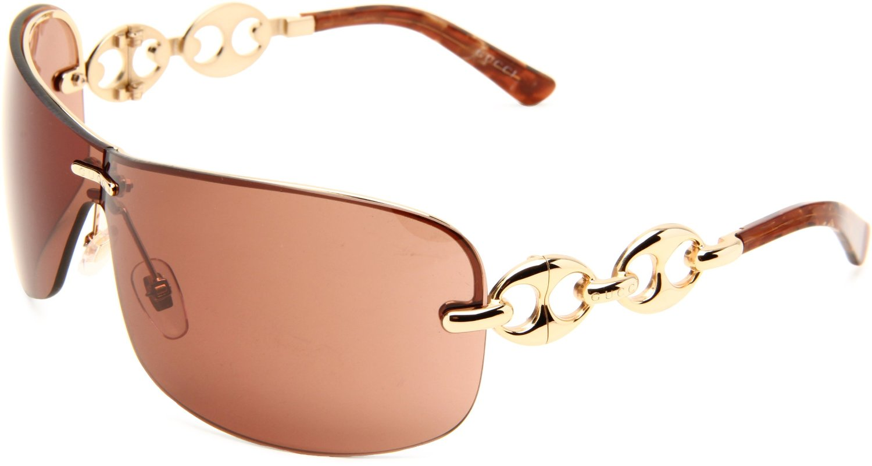 Gucci Gold Frame Sunglasses : Gucci Womens S Wrap Sunglasses in Brown (gold frame/dark ...