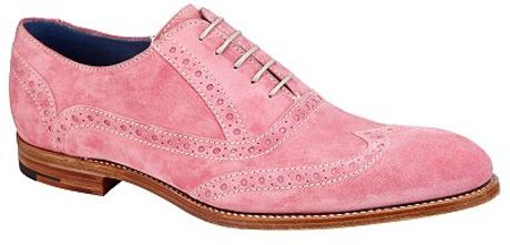 barker grant brogue suede oxford shoes pink in pink for