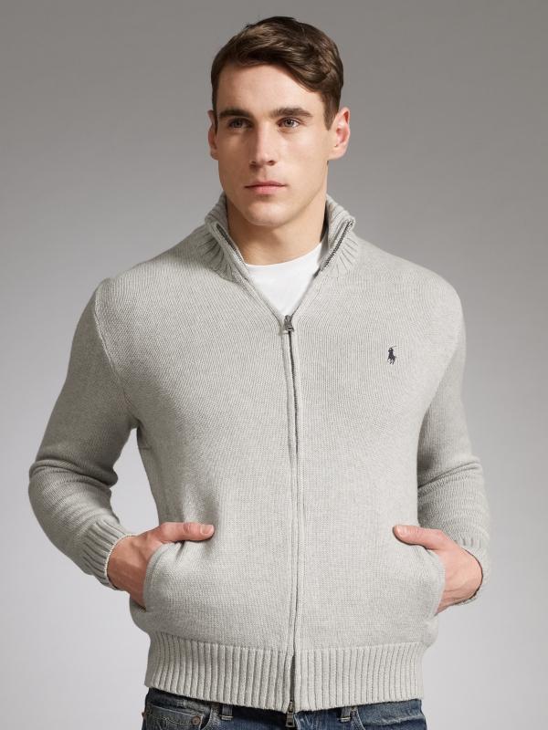 37e49bab0a5 Polo Ralph Lauren Full Zip Cardigan Grey in Gray for Men - Lyst