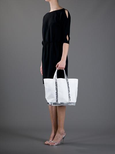 Vanessa Bruno Athé Sequin Tote Bag in Nude (Metallic)