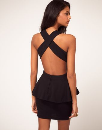 Backless Black Dress on Asos Collection Peplum Dress With Cut Out Back   Lyst