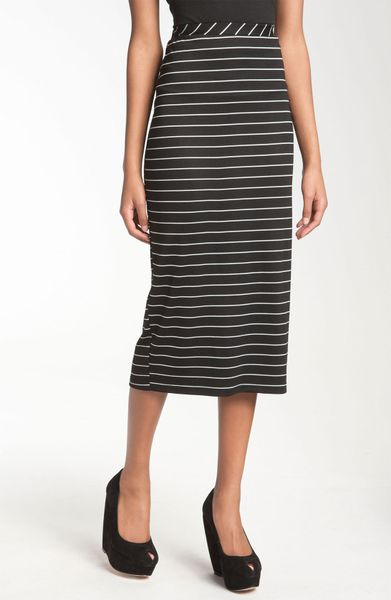 bobeau stripe midi skirt in black black white lyst